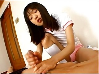 Petite chick from japan gives handjob